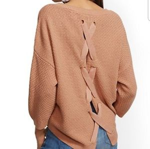 New York & Company Lace-up Back Sweater
